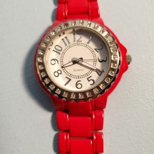 Vintage Avon red ceramic look watch